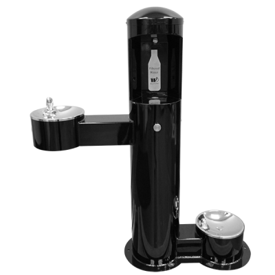 Stainless Steel Outdoor Bottle Filler with Adult ADA Compliant and Pet Drinking Fountains (CWBF-3-HC-PET)