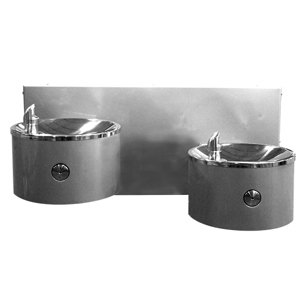 Outdoor Drinking Fountain Dual User Wall Mounted